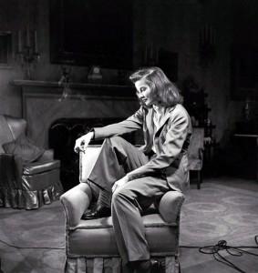 Katherine Hepburn in her iconic pant suit