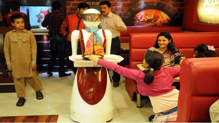 A robot is serving food at a restaurant in Multan-the future is now!